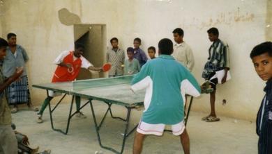 لقطة لنشاط لعبة تنس الطاولة في النادي