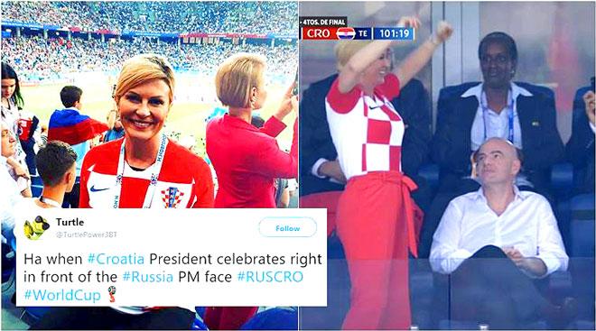 رئيسة كرواتيا أثناء فرحتها بفوز منختبها
