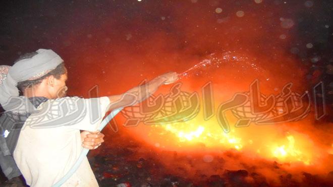مواطنون يسيطرون على حريق قبل توسعه بالحوطة