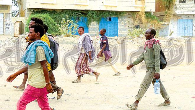 مهاجرين أفارقة في مدينة لحج