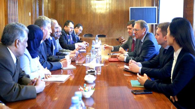 جانب من لقاء وفد المجلس الانتقالي مع الخارجية روسيا