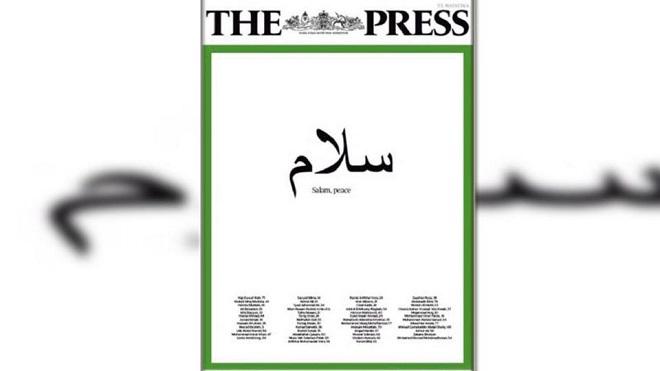 """صحيفة في نيوزيلندا تنشر على غلافها كلمة """"سلام"""" بالعربية"""