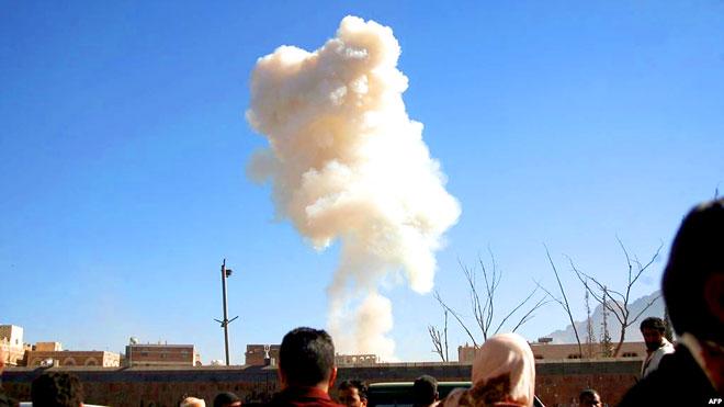 التحالف يقصف ورشة لتصنيع الطائرات المسيرة للحوثيين