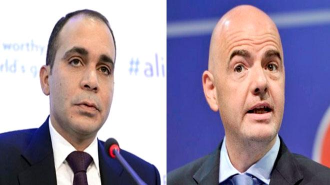 رئيس الاتحاد الدولي (فيفا) السويسري جاني إنفانتينو ورئيس الاتحاد الأردني لكرة القدم الأمير علي بن الحسين