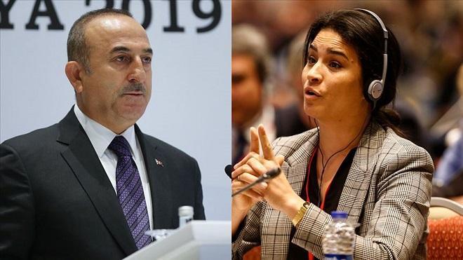 وزير الخارجية التركي تشاووش أوغلو، والنائبة الفرنسية عن حزب الجمهورية صونيا كريمي
