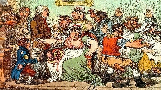 رسم ساخر في عام 1802م، يُصور إدوارد جينر يقوم بتطعيم الناس بمرض جدري البقر، فتخرج الابقار من اجسادهم!