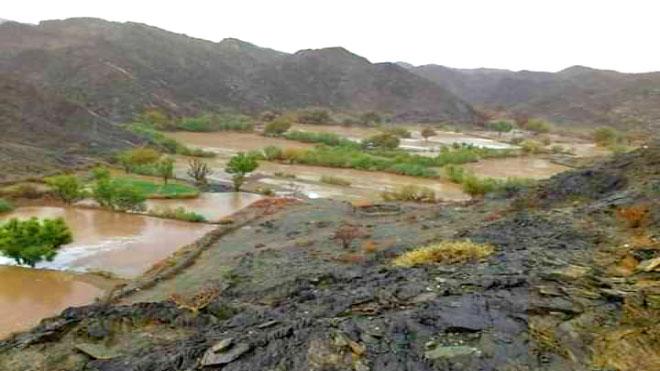 أمطار غزيرة تروي أراضي جيشان الزراعية