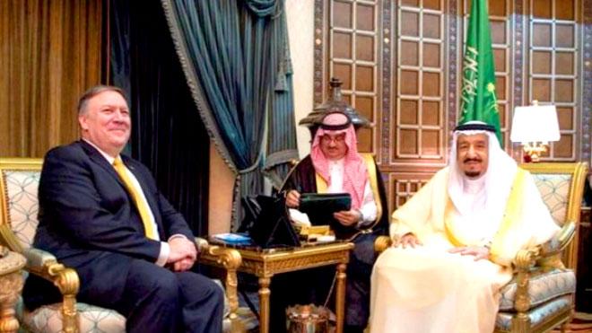 العاهل السعودي يستقبل بومبيو في جدة