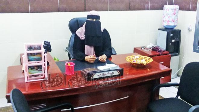 مديرة المكتبة، وفاء أحمد غالب