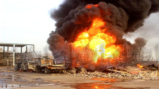 حريق يلتهم محطة وقود في البريقة