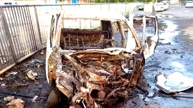 السيارة الخردة نوع (هونداي) الذي زرعت بداخلها العبوة الناسفة
