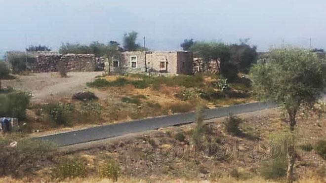 """منظر عام لقرية """"باجة"""" وسط منطقة حجر شمال غرب محافظة الضالع"""