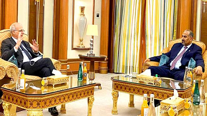 لقاء رئيس المجلس الانتقالي و السفير البريطاني لدى اليمن