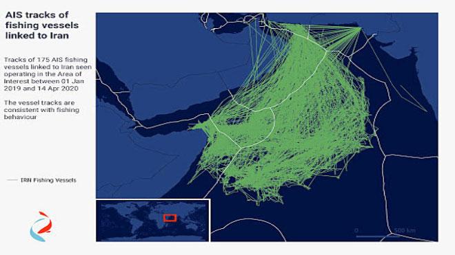 خريطة مسارات AIS من 175 سفينة صيد مرتبطة بإيران خلال موسم الصيد 2019-2020. يمكن رؤية نشاط كبير داخل المناطق الاقتصادية الخالصة للصومال واليمن