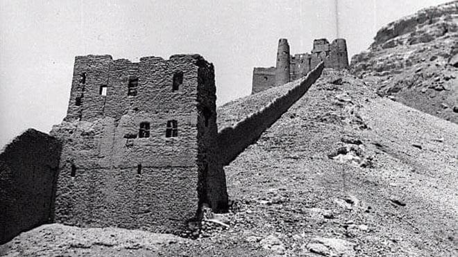 جانب من السور والحصن الأثري في تريم