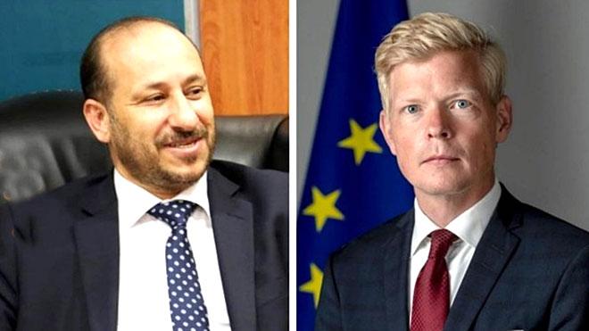 وزير التخطيط والتعاون الدولي  نجيب العوج و سفير الاتحاد الأوروبي لدى اليمن هانز جروندبرج