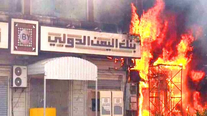 حريق يلتهم مركزا تجاريا في المنصورة
