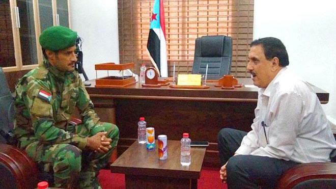 مدير أمن العاصمة عدن اللواء مطهر الشعيبي مع قائد قوات الحزام الأمني العميد جلال الربيعي