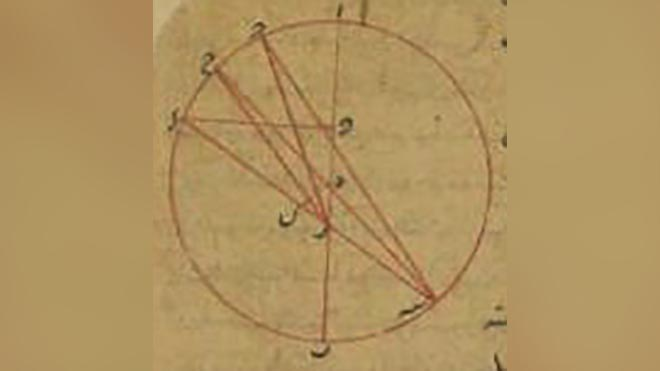 صورة من أحد مؤلفات بن عراق تظهر حساباته الهندسية والرياضية المتقدمة استنادا الى مركز الدائرة