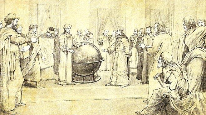 الإدريسي في قاعة روجر الثاني مع حشد من الوجهاء والأمراء ويقوم الإدريسي بشرح كروية الأرض