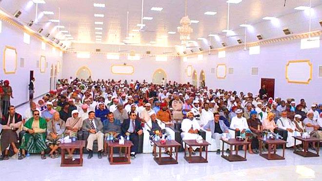 صورة عامة من الحضور في حفل افتتاح مكتب كتلة حلف وجامع حضرموت